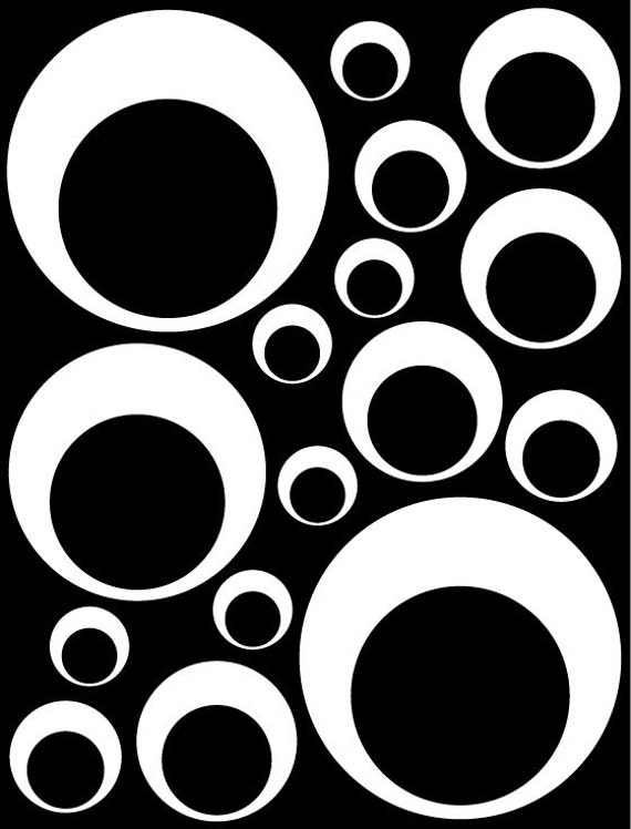 White Circle in a Circle Bubble Look Decals great for Teen, Kids, Baby, Nursery, Dorm Room Walls - Removable Custom Made - Easy to Install