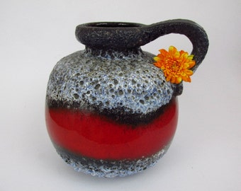 Large Vintage ceramic vase by Scheurich / red, black, blue / Fat Lava / 484 21 | West German Pottery | 60s