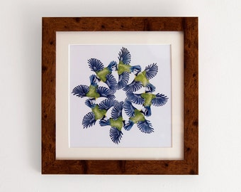 Blue Tits. Square print with mount (10x10 inches).