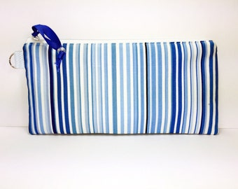 Blue Stripe PUL Lining Cosmetic Pouch, Lunch Bag, Wet Bag, Waterproof Bag, Makeup Bag, for Reusable Feminine Pads