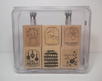 Stampin' Up! TAGS SO MUCH, Set of 6 Wood Mounted Rubber Stamps, New and Unused - Gift Tags, Holiday Tags, Thank You, Easter