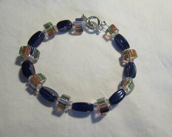 Cobalt and Rainbow -striped Glass Beaded Bracelet
