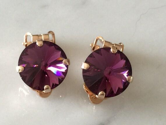 Amethyst Crystal Clip On Earrings,  Crystal Clip On Earrings, Swarovski Amethyst Crystal Clip On Earrings, Amethyst Crystal Clip On Earrings
