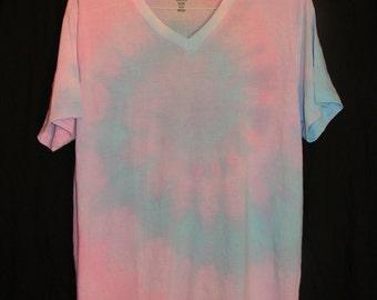 Pastel Cotton Candy Tie Dye V-Neck (L)