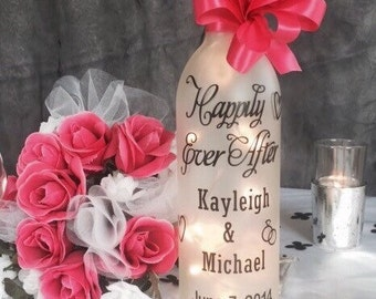 Lighted wine bottle. Personalized wedding decor or gift. Black and white.