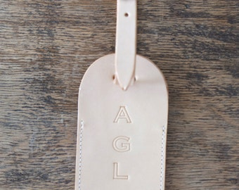 MONOGRAM Leather Luggage Tag Initials Custom Handmade Gift
