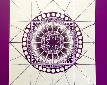 ORIGINAL - Purple Graph Mandala