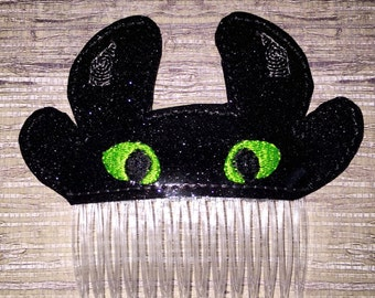 Toothless Black Viking Dragon Glitter Hair Comb