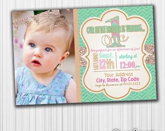 Mint and Gold Birthday Invitation, Photo Invite- Printable, Glitter, Announcement, Invite, Milestone, Custom,Digital