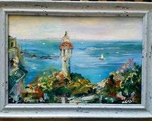 Yaffo, Israel. Oil on canvas,  original painting. Sea view , nautical art. Blue, yellow, white, green, purple.