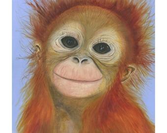 Orangutan Giclee fine art print/ A4 colour print
