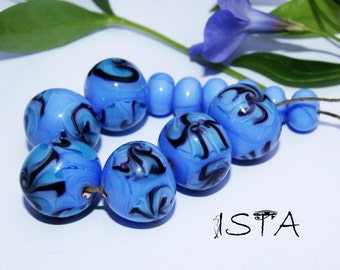 "Set Glass beads. Lampwork. handmade by ""Blue Flower"""