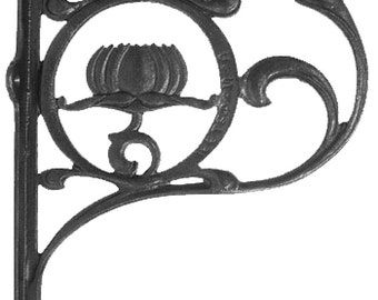 Pair Lotus Flower Iron Shelf Brackets