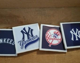 Set of 4 handmade New York Yankees Coasters
