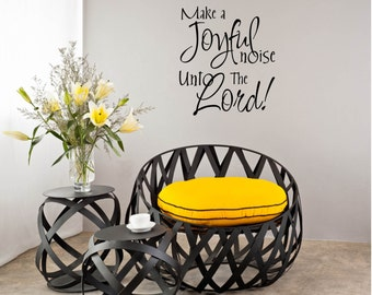 "Musician Wall Decal, Musician Vinyl Decal - ""Make a Joyful noise unto the Lord"" Hobby Wall Decal Vinyl Lettering"