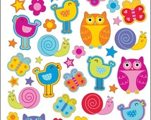 Sticko Scrapbooking Stickers - Cute Owls and Birds