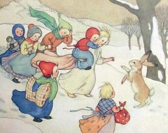 1931 - CHILDRENS CHRISTMAS STORY - Photolithography by Ida Bohatta Morpurgo. Religion. Winter. Snow. Vintage Original.