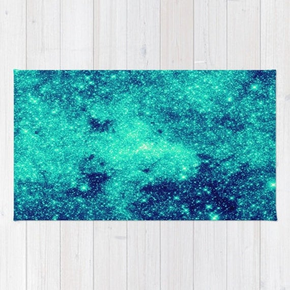 Area Rug Blue Rug Teal & Aqua Rug Galaxy Area Rug By