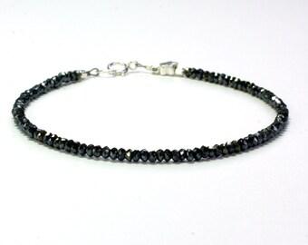 Delicate black spinel bracelet, Black bracelet, Sparkly bracelet, Minimalist bracelet, Gift for her, Stacking bracelet, Jewellery, Gift BFF