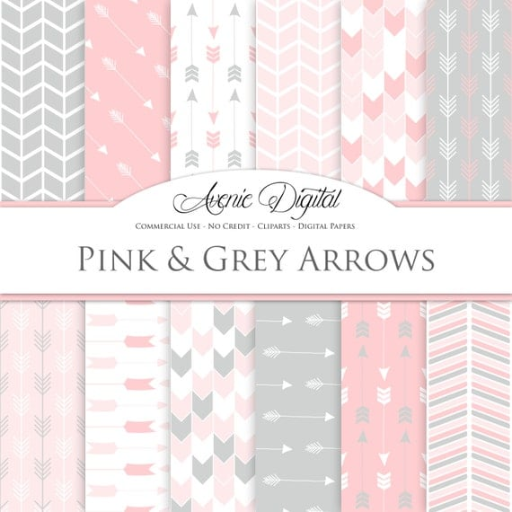 Pink And Grey Arrows Digital Paper Scrapbook Backgrounds Tribal