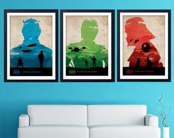 Vintage Star Wars Poster Set. The Phantom Menace, Attack of the Clones, Revenge of the Sith