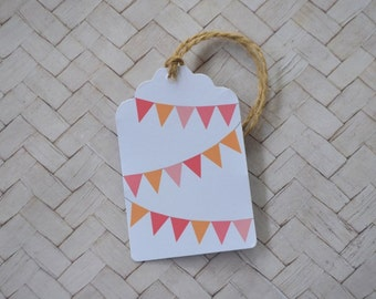 Pink and Orange Bunting Gift Tag