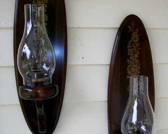 Matching Pair Candlestick Holders, Wall Sconces with Glass Chimney