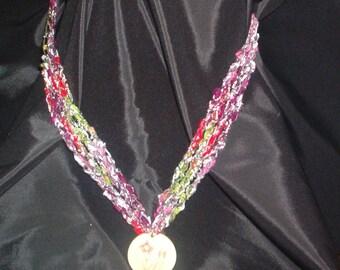 Crocheted Ladder Yarn Necklace