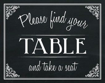 Find Your Table Wedding Chalkboard Poster Print Sign READY TO PRINT