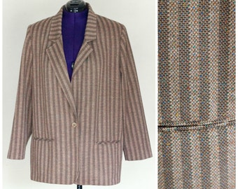 1980s striped women's tweed blazer SIZE 18W (38)