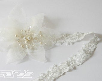 Cymbre silk flower hair band from top