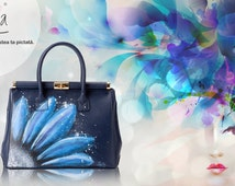 Hand Painted Fine Grain Leather Purse - Vidia Blomma Flowers Blue Leather Purse by Lyria.ro