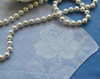 Vintage White on White Woven Rose Handkerchief