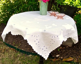 White Eyelet Tablecloth