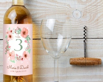 Custom Wedding Wine Labels - Wedding Table Number Wine Labels with Delicate Flower Design - Customized Wine Label