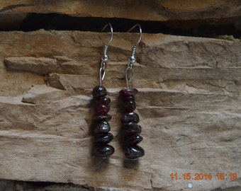 Natural Garnet Healing Stone Earrings