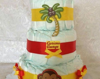 Curious George Diaper Cake, Boy Diaper Cake, Baby Shower Gift Baby Shower Centerpiece, Gift for Parents, Yellow and Red, Curious George Cake
