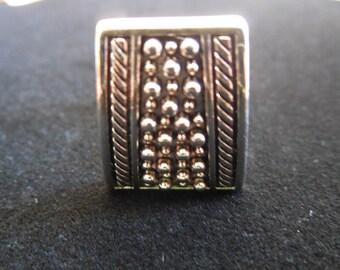 Silver Tone Square Design Clip Earrings
