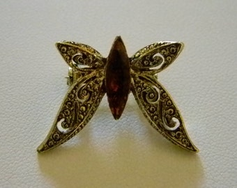 Tiny Antiqued Gold Tone Filigree Butterfly with Amber Crystal