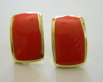 Gold Tone Orange Square Clip Earrings
