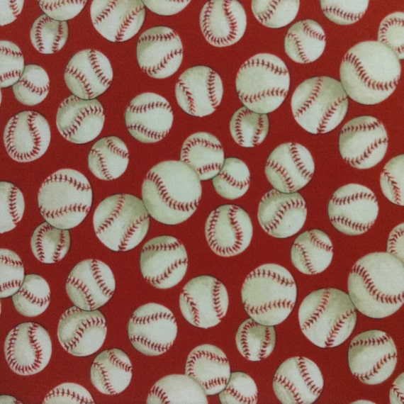 Fno064 Red Baseball Quilting Fabric By Alexander By