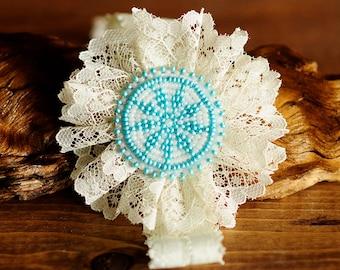 Lace headband, Lacy aqua baby, toddler headband, Newborn photo, Girls Headband, Shabby Chic Baby, tribal baby, native american, beadwork