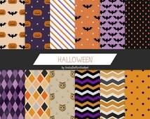 Halloween digital paper, halloween paper, pumpkin paper, bats paper, chevron motif, polkadots paper, owls paper, stripes paper, party paper