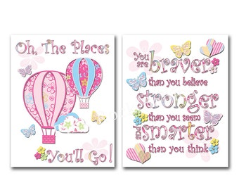 Pink nursery artwork baby girl room  typography kids wall art Dr Seuss Quotes braver believe playroom decoration oh the places you will go