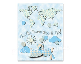 Oh the places you'll go world map nursery artwork kids room art dr Seuss quote playroom wall decor toddler gift blue airplane teddy bear