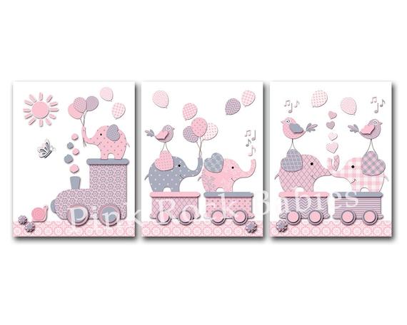 Elefant Kinderzimmer Wand Dekor Baby Mädchen Kunstwerk