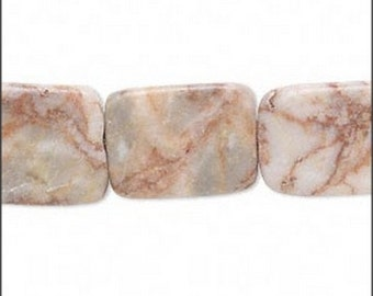 Natural Redline Marble Flat Rectangle Beads