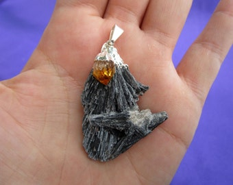 Black kyanite crystal pendant with citrine crystal FREE NECKLACE