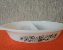 """Pyrex Agee Retro Vintage """"Tiki"""" 1970's Oval Divided Dish"""