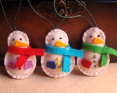 Set of 3 snowmen Christmas tree ornaments - pack of 3 embroidered snowmen - felt christmas decoration